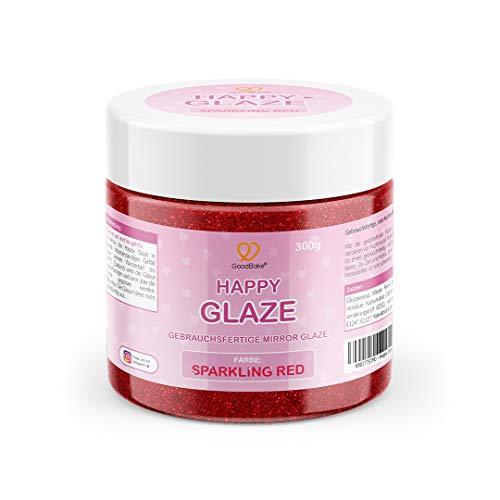GoodBake Happy Glaze - 300g - gebrauchsfertige Mirror Glaze - Glasur für Torten, Kuchen, Cupcakes - Zuckerguss - Farbe: Sparkling Red