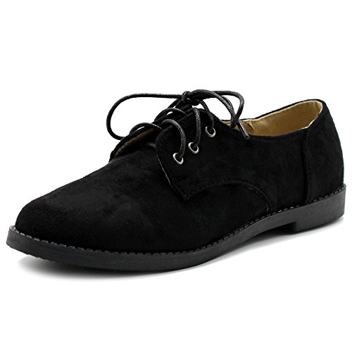 Ollio Women Classic Flat Shoe Lace Up Faux Suede Oxford ZM2910(7 B(M) US, Black)