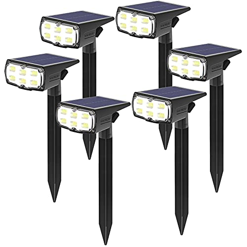 GOLUMUP 36 LED Luces Solares para Exterior Jardin Focos Solares Exterior Impermeable IP67 Lámparas Solares para Jardín, Patio, Calzada, Piscina y Camping - Blanco Frío (6 Piezas)