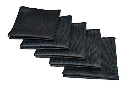 The Rag Company (5-Pack) 16 in. x 16 in. Black Diamond Professional Microfiber Glass - Window - Mirror - Chrome Towels for Detailing