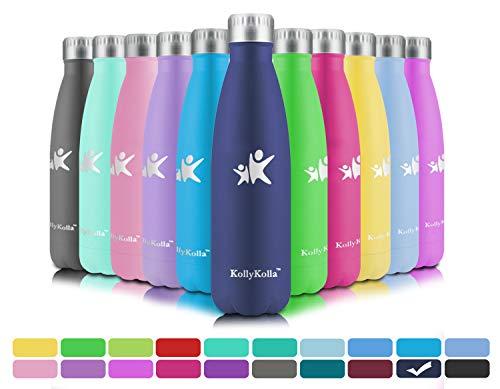 KollyKolla Vakuum Isolierte Edelstahl Trinkflasche, 750ml BPA Frei Wasserflasche Auslaufsicher, Thermosflasche für Kinder, Schule, Mädchen, Sport, Outdoor, Fahrrad, Büro, Fitness (Voll Dunkelblau)