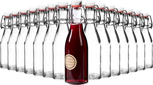 GIESSLE 15x 200ml Flasche mit Porzellankopf und [Edelstahl] Bügelverschluss, Leere Draht Bügelflasche...