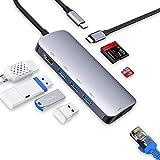 USB Type C ハブ、ドッキングステーション Vilcome 8in1 USB C ハブ ウルトラスリム USB C 4K HDMI出力 PD 充電対応 USB3.0 ハブ SD/Micro SD カードリーダー マイクロ タイプC HDMI 変換 アダプタ MacBook MacBook Pro/ChromeBook対応 (HDMI・LANポート・SDカードリーダー付き)