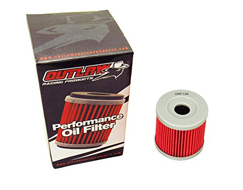 Outlaw Racing ORF139 Performance Oil Filter Compatible with Arctic Cat DVX 400 Kawasaki KLX400R Suzuki DR-Z400S Yamaha YZ250F Replaces KN139