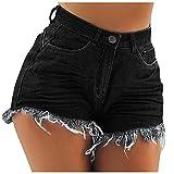 Pantalones Cortos Mujer Vaqueros Rasgados Pantalones Cortos Verano con Borlas Pantalón Vaquero Corto Mujer Casual con Bolsillos Shorts Mujer Vaqueros Suave y Cómodo Playa,Fiesta,Club