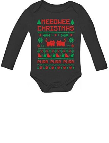 Tstars Meeowee Christmas Ugly Sweater Design Cute Xmas Infant Baby Long Sleeve Bodysuit Newborn (0-3M) Black