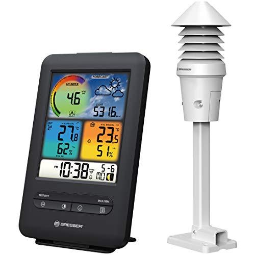 Bresser Wetterstation Funk mit Außensensor W-LAN Farb-Wetterstation mit 4-in-1 UV-/Licht-Sensor