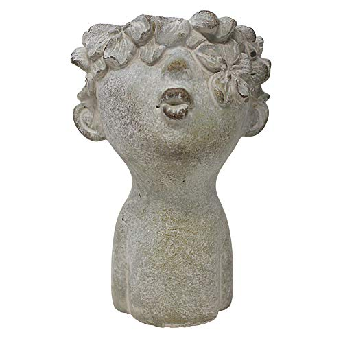 Concrete Kissing Face Succelent Head Planter with Distressed Finish Classical Garden Decor , 7 1/4 Inch