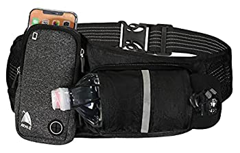 Athle Running Belt - Horizontal Water Bottle Pouch Large Fanny Pack Pocket Fits All Phones and Wallet Adjustable One Size Fits All Waist Band Key Clip 360° Reflective  Black