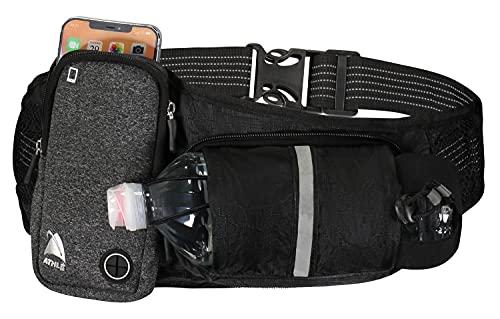 Courir Belt Water Bottle Pouch Horizontal, Grand Fanny Pocket Pack adaptée à la plupart des téléphones et des porte-monnaie, réglable Taille unique bande de taille, porte-clefs, 360 réfléchissant Noir