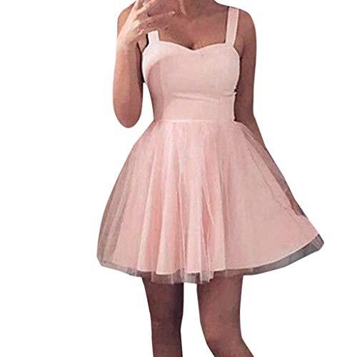 WOZOW Damen Kleider Hosenträger Kleid Push up ärmellos Tunika Eine Linie Tutu Rock Sexy Tüllrock Elegant Frauen Minirock (L =EU:38,Rosa)
