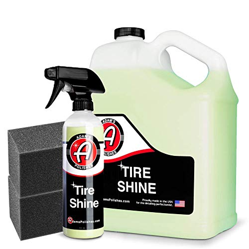 Adam's SiO2 Infused Tire Shine Plus 16oz - Achieve a Lustrous, Dark, Long Lasting Shine - Non-Greasy and No Sling Formulation Infused With SiO2 For Increased a Longer, Durable Shine (Refill Kit)