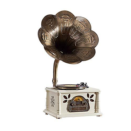 Yamyannie Giradischi in Vinile Retro Grammofono Altoparlante Antico Vinile Record Giocatore Bluetooth USB Ornamenti Radiofronti Vintage per Casa (Colore : White, Size : 43x35x88cm)