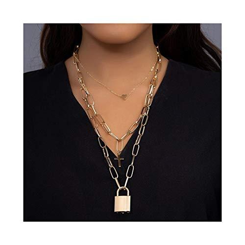 Accesorios Festival gótico Collar candado de la Cruz del corazón Collares Pendientes Mujeres Estética Chica de Cadena de Cerradura Regalo (Metal Color : 013 Gold)