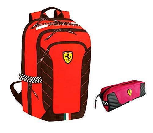 Mochila escolar Ferrari redonda 2020 + estuche con cremallera + llavero silbato + bolígrafo con purpurina