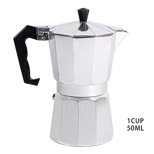 Espressokocher aus Aluminium, für 1 Tasse/3 Tassen/6 Tassen/9 Tassen/12 Tasse, italienische Mokka-/Espresso-/Kaffeemaschine für die Herdplatte, Perkolator 50ML/1cup