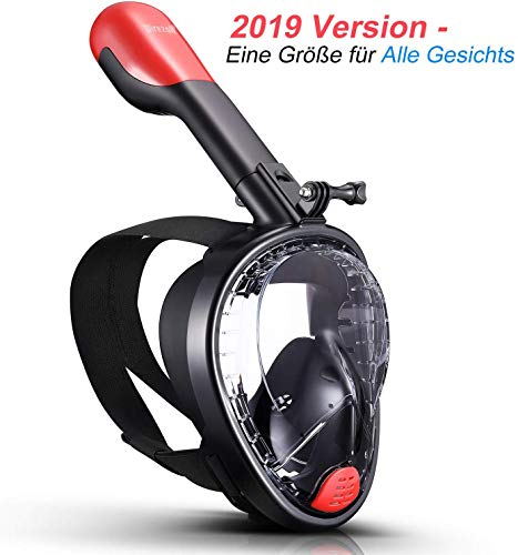Wirezoll Duikmasker, volgelaatsmasker, opvouwbaar snorkelmasker, moeiteloos ademen, geen beslag, geen binnendringen van water, 180° gezichtsveld en camerahouder, voor kinderen en volwassenen