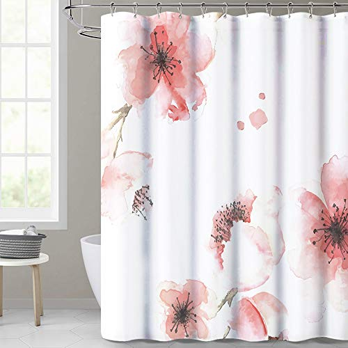 KGORGE Bathroom Shower Curtain Waterproof, Pink Floral Curtains Polyester Fabric Liner Modern Bathroom Decoration Washable for Girls, Stalls and Bathtubs, 72 x 72 with 12 Rings