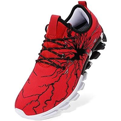 BRONAX Zapatos para Correr en Montaña y Asfalto Aire Libre y Deportes Zapatillas de Running Padel para Hombre Negro Rojo 36