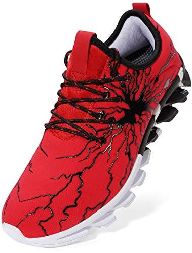 BRONAX Herren Sportschuhe Schnürschuhe Atmungsaktiv Moderne Freizeit Sneaker Schuhe Outdoor Laufschuhe Low-Top Bequeme Turnschuhe Joggingschuhe Männer Jungen Rot Schwarz 45 EU (46 Asien)