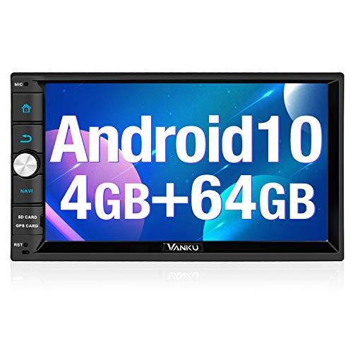Vanku Android 10 Autoradio mit Navi 64GB + 4GB 8 Core Unterstützt Qualcomm Bluetooth 5.0 aptX DAB + Android Auto WiFi 4G 2 Din 7 Zoll Bildschirm