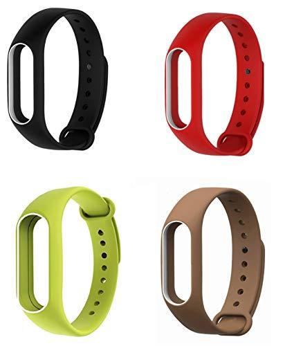 Kit 4 pulseiras extras para MI BAND 2 (Preta_branca/Vermelha_branca/Verde_branca/Marrom_branca)