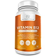 New Vitamin B12 Methylcobalamin (6 Month Supply) 1000mcg 180 Tablets by Nutribioticals | Contributes to The Reduction of Tiredness and Fatigue and Normal Function of The Immune System
