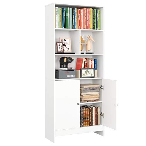 Libreria Scaffale con Ante,Mobiletto Armadietto Mobile in Legno,Mobile alto Credenza con vetrina Libreria da Terra per Soggiorno Cucina Ufficio 70x29.6x167cm Bianco (1)