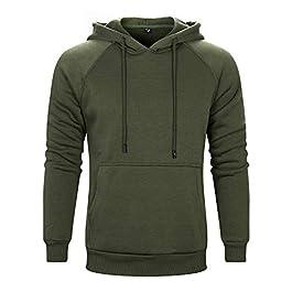 AOTORR Men's Long Sleeve Pullover Hoodie Sweatshirts with Kangaroo Pockets Solid Color Hoody
