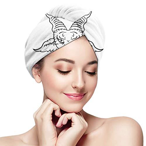 XBFHG Baignoire Cheveux Secs Cap Tête De Chèvre Satanique Baphomet Tatouage Séchage Rapide Serviette Enveloppée Adulte Douche Tête De Bain Bonnet