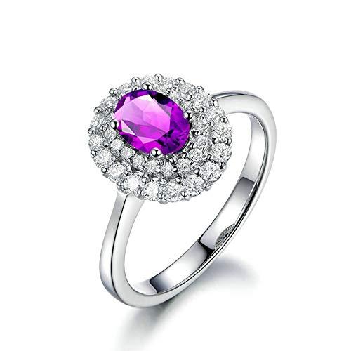 Bishilin Anillos de Promesa Plata de Ley S925 para Novia Ajuste Cómodo Anillos de Amistad Púrpura Oval Cristal Piedra del Zodíaco Alianza de Compromiso Muy Pulida Plata Talla: 12