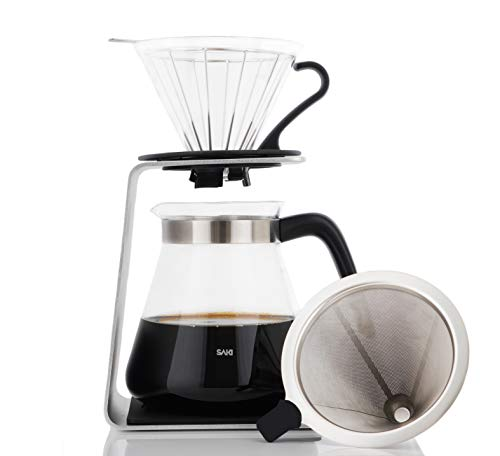 SAKI Pour Over Coffee Maker Starter Set with Dripper - Includes Glass Dripper, Reusable Stainless Steel Filter, Non-Slip Bracket and Pour Over Coffee Pot - (27 Ounce/800 ml)