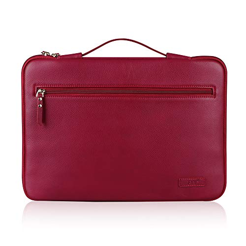 Fyy 12-13.5 inch Leather Laptop Sleeve Case Cover Bag for MacBook Pro/MacBook Air/iPad Pro 12.9 2018 2017 2016, Laptop Bag for 13' 13.3' Surface Lenovo Dell Toshiba HP ASUS Acer Chromebook Wine Red