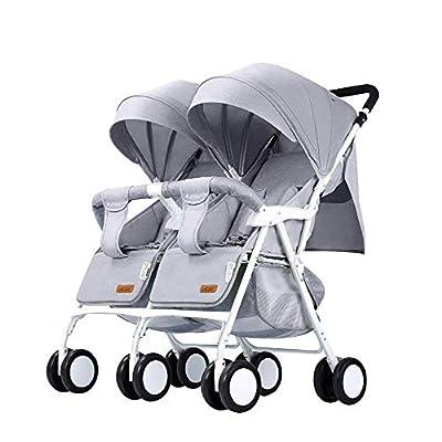 Silla de Paseo gemelar - Cochecito Doble Compacto - Silla de Paseo portátil - Cochecito en tándem - Asiento reclinable - Carga máxima de 0-3 años 25 kg / 55 LB
