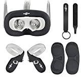 Face Silicone Cover Mask & Touch Controller Grip Cover & Knuckle Strap & Lens Protect Cover Set for Oculus Quest, Professional Silicone Protection Accessories, Sweatproof, Anti-fall 6-piece set