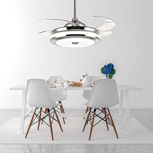 """Moooni 42"""" Modern Dimmable Fandelier Retractable Ceiling Fans with Lights and Remote Invisible Chandelier Fan Light Kit- Polished Chrome"""