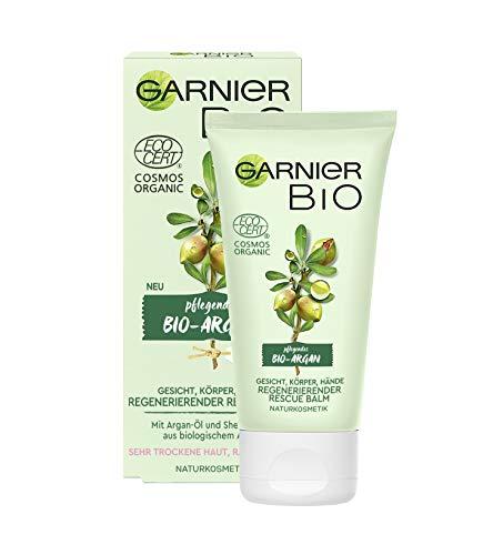 Garnier Bio Regenerierender Argan Rescue Balm, Naturkosmetik, Pflege und Handcreme mit Arganöl und Sheabutter, 50 ml