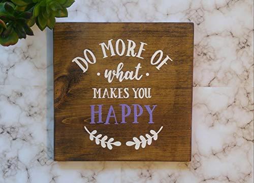 prz0vprz0v Holzschild Do More of What Makes You Happy Holz, handbemalt, Dekoration, Haus, Landschaft, Sommer, Wandschild