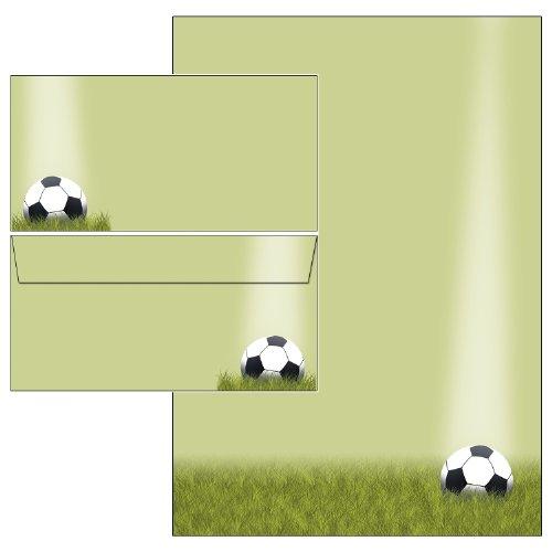 Briefpapier-Mappe Fußball Sport Set 50-teilig 25 Blatt Briefpapier + 25 Stück Briefumschläge DIN lang ohne Fenster 5425+6425