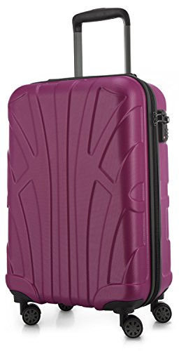 Suitline Handgepäck Hartschalen-Koffer Koffer Trolley Rollkoffer Reisekoffer, TSA, 55 cm, ca. 34 Liter, 100% ABS Matt, Magenta