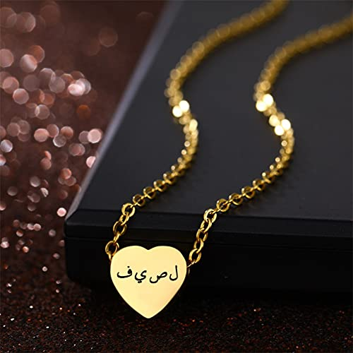 Shulcom Nombre Collar Personalizado Hombre Mujer Oro Plata Acero Inoxidable Cadena Colgante Collar