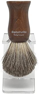 Spitalfields Shaving Company 100% Pure Badger Bristle with Faux Ebony Beechwood Handle Shaving Brush and FREE Acrylic Stand - Columbia Road by Spitalfields Shaving Company