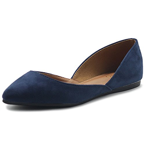 Ollio Womens Shoe Faux Suede Slip On Comfort Light Pointed Toe Ballet Flats ZM1710F (7.5 B(M) US, Navy)