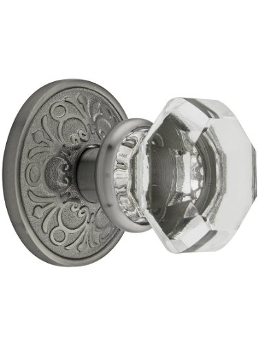 Lancaster Door Set with Old Town Crystal Knobs Passage in Antique Pewter