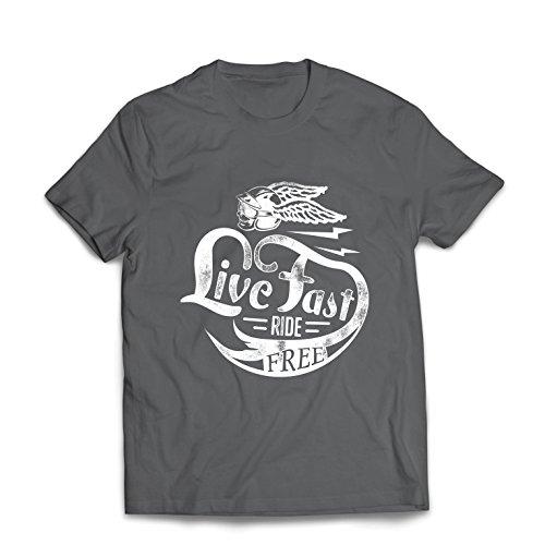 lepni.me Männer T-Shirt Live Fast Die Free - Klassische Bikers Kleidung, Motorradausrüstung, Motorrad Sprüche (XXX-Large Graphit Mehrfarben)