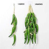文字列の5つの房ハンギング人工グリーン野菜、人工フルーツ、フェイクコーン、ピーマン、ニンニク、ピーナッツ、農家、レストラン、中庭、レストラン農村モデルの装飾 (Color : K)