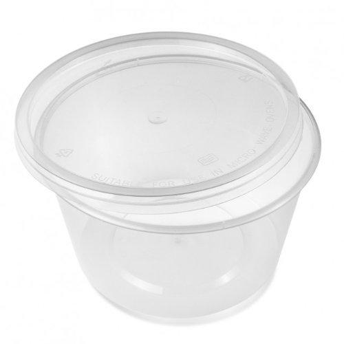 Lot de 50 boîtes rondes en plastique transparent pour micro-ondes - 120 mm (p) x 60 mm