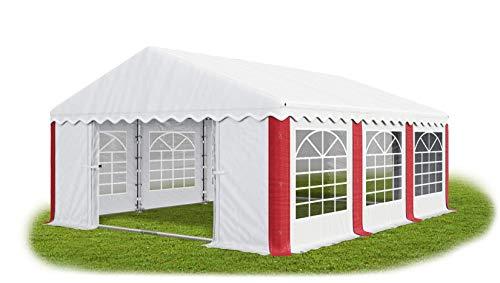 Das Company Partyzelt 4x6m wasserdicht weiß-rot mit Bodenrahmen Zelt 240g/m² PE Plane hochwertig Gartenzelt Summer Floor PE