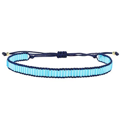 KELITCH Bracelet en Cuir tissé à la Main en Perles de rocaille Marron Unisexe