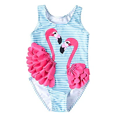 Baby Girl One Piece Swimsuit Swimwear Toddler Kid Flamingo Bikini Bathing Suit Sunsuit Rash Guard L Blue